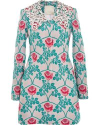 Honor Pink Rose Trellis Jacquard Fitted Coat - Lyst