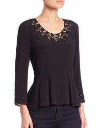Rebecca Taylor | Embroidered Crepe Peplum Top | Lyst