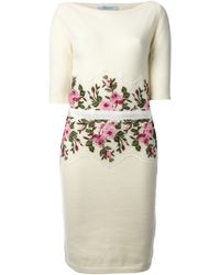 Blumarine Rose Embroidered Dress - Lyst