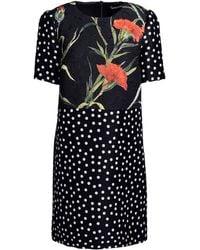 Dolce & Gabbana Printed Brocade And Silk Dress floral - Lyst