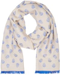 Alexander McQueen Beige And Blue Allover Skull Scarf blue - Lyst