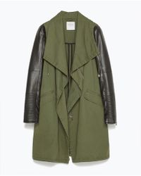 Zara Overcoat With Faux Leather Sleeves - Lyst
