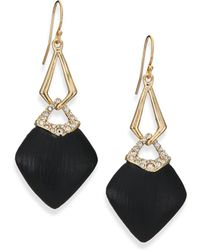 Alexis Bittar Sport Deco Lucite & Crystal Double-Link Drop Earrings/Black gold - Lyst