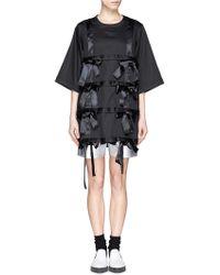 Nicopanda Grid Bow Front T-Shirt black - Lyst