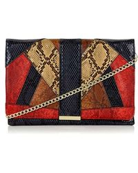 Topshop   Snake Embossed Faux Leather Clutch   Lyst