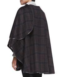 Sofia Cashmere Cashmere Plaid Leather-Trim Cape black - Lyst