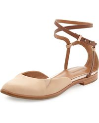 Rachel Roy Ivy Twotone Wrapankle Flat Natural 8 12 - Lyst