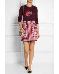 Anna Sui Printed Bamboo-twill Skirt - Lyst