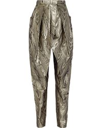 Balmain Metallic Jacquard Tapered Pants - Lyst