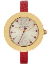 Betsey Johnson Ladies Curved Watch with Skinny Leather Strap - Lyst