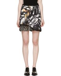 3.1 Phillip Lim Black Abstract Embroidered Skirt - Lyst
