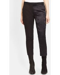 Ann Demeulemeester Embroidered Straight Leg Cotton Ankle Pants - Lyst