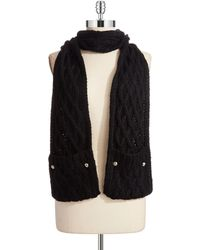 Michael by Michael Kors Cable Knit Pocket Scarf - Lyst