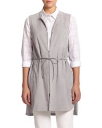 Lafayette 148 New York Mixed-Media Belted Vest - Lyst