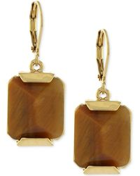 Vince Camuto - Gold-tone Brown Stone Drop Earrings - Lyst