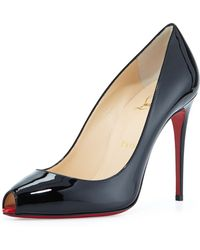 Christian Louboutin Patent Mini-Peep Red Sole Pump - Lyst
