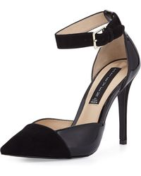 Steven by Steve Madden Winter Suede/ Patent Leather Pump W/ Ankle Strap - Lyst