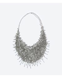 Zara Metal Mesh And Crystal Necklace - Lyst
