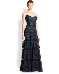 Tadashi Shoji Rachel Strapless Lace Gown - Lyst