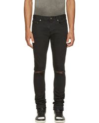 Saint Laurent Black Distressed Skinny Jeans - Lyst