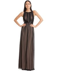 JS Boutique Pleated Chiffon Maxi Gown black - Lyst