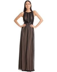 Js Boutique Pleated Chiffon Maxi Gown - Lyst