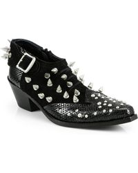 Junya Watanabe - Studded Snakeskin Suede Ankle Boots - Lyst