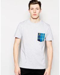 Lyle & Scott Lyle & Scott T-Shirt With Plaid Pocket - Lyst