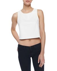 Cusp Faux Leather Perforated Crop Top Ivory Medium - Lyst