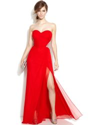 Xscape Strapless Embellished Cutout Gown - Lyst