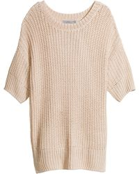 H&M Beige Knitted Top - Lyst