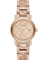 Burberry Rose Goldtone Ip Stainless Steel Check Etched Bracelet Watch34mm - Lyst