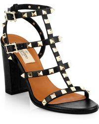 Valentino Leather Rockstud Sandals - Lyst