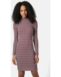 Topshop Mock-Neck Body-Con Dress - Lyst