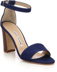 Manolo Blahnik | Lauratopri Denim Sandals | Lyst