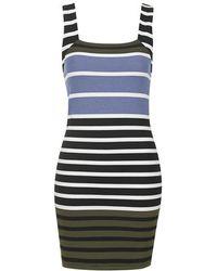 Topshop Square Neck Striped Bodycon Tunic Dress - Lyst
