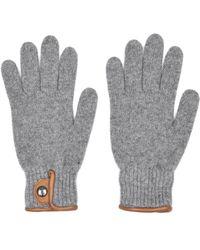 Oliver Spencer - Grey Melange Leather Trim Woolblend Gloves - Lyst
