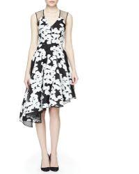 Lela Rose Floral-Print Asymmetric Ruffled Dress - Lyst