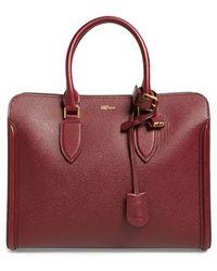 Alexander McQueen - 'heroine' Open Leather Tote - Burgundy - Lyst