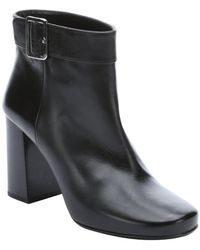 Prada Black Leather Buckle Detail Ankle Boots - Lyst