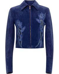Blumarine Embroidered Goat Leather Jacket - Lyst