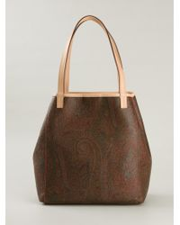 Etro Paisley-Print Leather and Cotton-Blend Shoulder Bag - Lyst