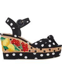 Dolce & Gabbana Embroidered Cork Wedge Sandals - Lyst