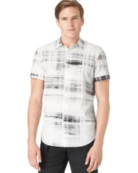 Calvin Klein Modern Fit Diaphanous Plaid Sport Shirt - Lyst