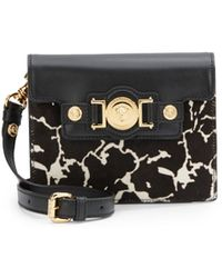 Versace Leather & Calf Hair Shoulder Bag - Lyst
