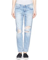 Current/Elliott 'The Fling' Ripped Knee Jeans - Lyst