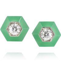 Fred Leighton - 18karat White Gold Chrysoprase and Diamond Earrings - Lyst