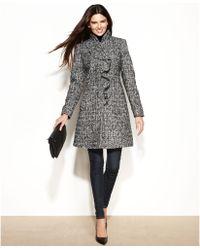 DKNY Petite Woolblend Ruffled Walker Coat - Lyst