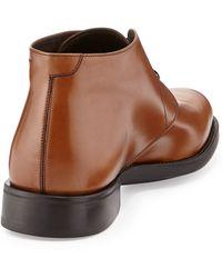 Ferragamo Pioneer Leather Ankle Boot Caramel - Lyst