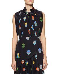 Stella McCartney Superhero-print Pleated Silk Blouse - Lyst